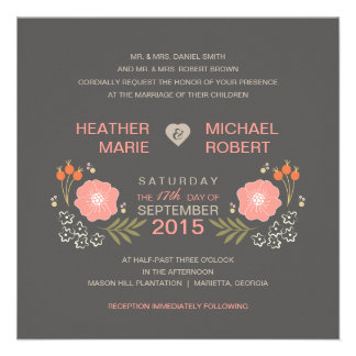 Invitations formelles florales rustiques de mariag