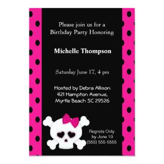 Invitations Girly d'anniversaire de rose de crâne