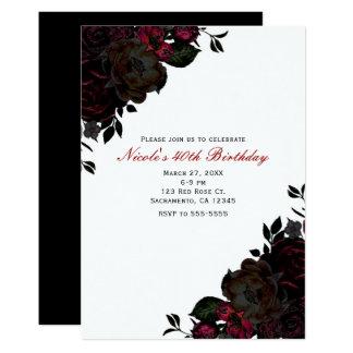 Invitations gothiques florales de fleurs rouge