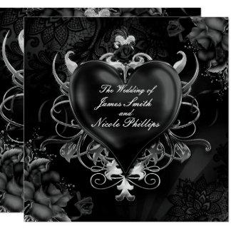 Invitations gothiques noires de mariage de coeur