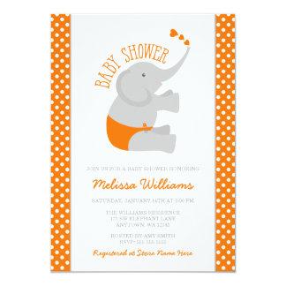 Invitations grises de baby shower d'éléphant