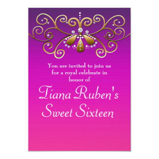 Invitations indiennes de princesse Gold Purple