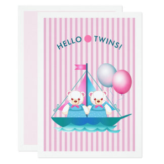 Invitations jumelles de baby shower de filles de