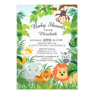 Invitations mignonnes de baby shower de safari de