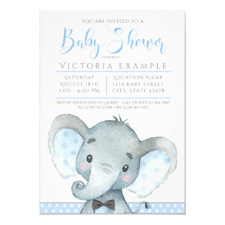 Invitations mignonnes de baby shower d'éléphant de