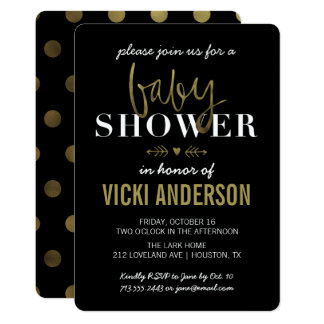 Invitations modernes de baby shower d'or fascinant
