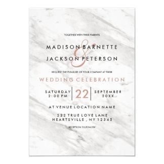 Invitations modernes de mariage d'or rose blanc de