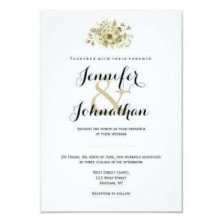 Invitations modernes florales d'or de mariage