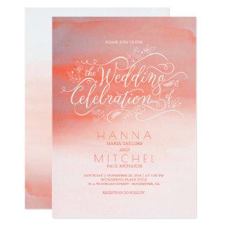 Invitations modernes roses de mariage de