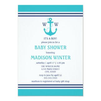 Invitations nautiques bleu-clair de baby shower