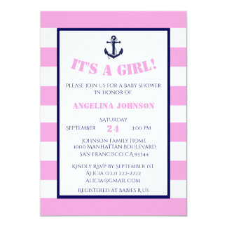 Invitations nautiques de baby shower de fille rose