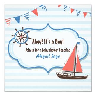 Invitations nautiques de baby shower de voilier