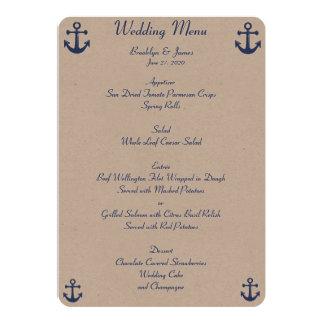 Invitations nautiques de coutume de menu de