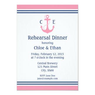 Invitations nautiques roses de dîner de répétition