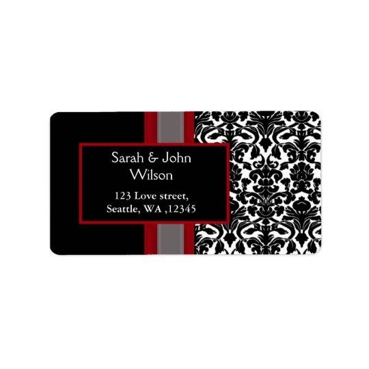 Invitations noires blanches rouges de mariage étiquettes d'adresse