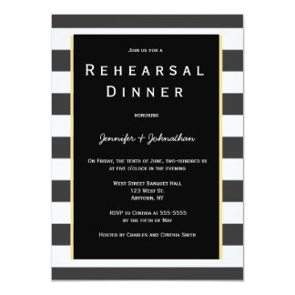 Invitations noires de dîner de répétition de