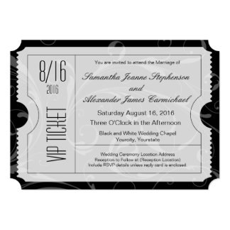 Invitations noires et blanches de billet de carton d'invitation  12,7 cm x 17,78 cm