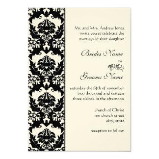 Invitations noires et blanches de mariage damassé