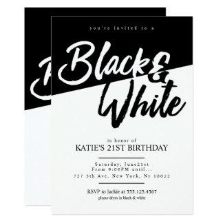 Invitations noires et blanches de partie de style