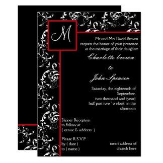 Invitations noires rouges de mariage damassé