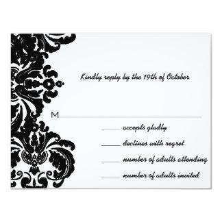 Invitations noires vintages de mariage damassé