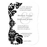Invitations noires vintages de mariage damassé carton d'invitation  12,7 cm x 17,78 cm