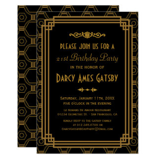 Invitations noirs de fête d'anniversaire d'art