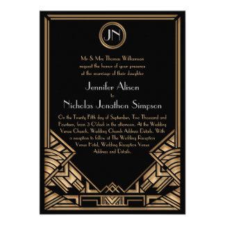 Invitations noirs de mariage de style de Gatsby d'