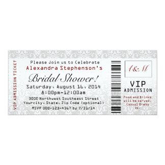 Invitations nuptiales de billet de douche carton d'invitation  10,16 cm x 23,49 cm