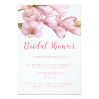 Invitations nuptiales de douche de fleur rose