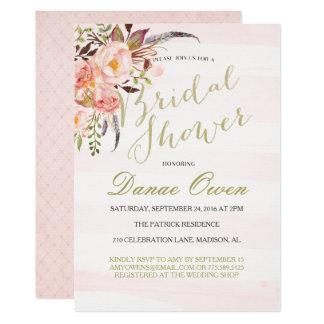 Invitations nuptiales de douche de rose floral