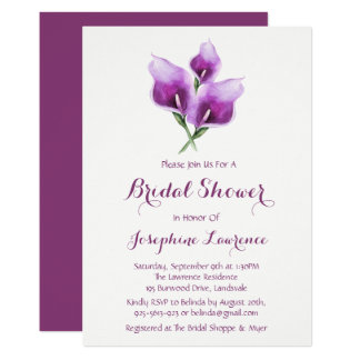 Invitations nuptiales de douche de zantedeschia