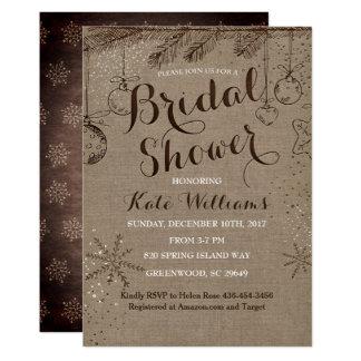 Invitations nuptiales de douche d'hiver rustique,