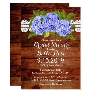 Invitations nuptiales de douche d'hortensia bleu
