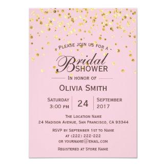 Invitations nuptiales de douche d'or rose chic