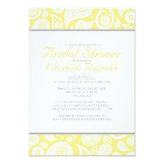 Invitations nuptiales jaunes de douche de Paisley