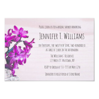 Invitations nuptiales pourpres florales rustiques
