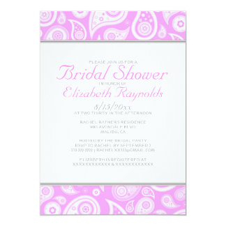 Invitations nuptiales roses de douche de Paisley