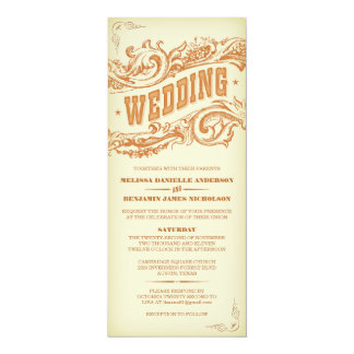 Invitations occidentales élégantes de mariage carton d'invitation  10,16 cm x 23,49 cm