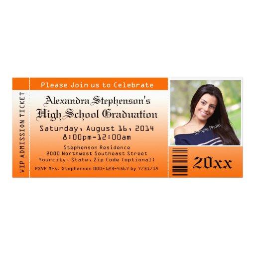 Invitations oranges de billet d'obtention du diplô