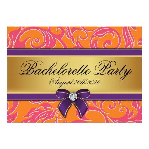 Invitations oranges roses de partie de Bachelorett