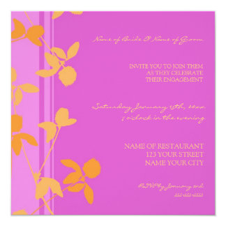 Invitations oranges roses de partie de fiançailles