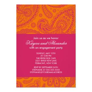 Invitations oranges roses modernes de fiançailles