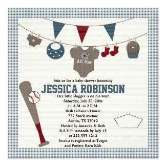 Invitations orientées de baby shower de base-ball