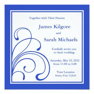 Invitations ou annonces carrées de mariage de bleu