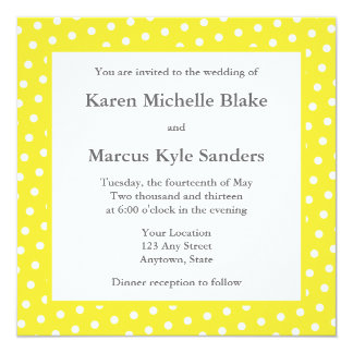 Invitations ou annonces carrées jaunes de mariage