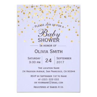 Invitations personnalisés de baby shower d'or de