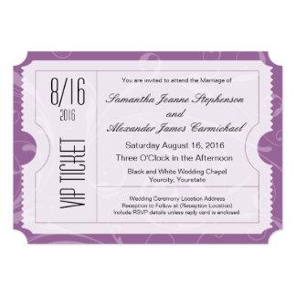 Invitations pourpres de billet de mariage de VIP Carton D'invitation 12,7 Cm X 17,78 Cm