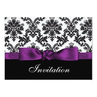 invitations pourpres de mariage damassé