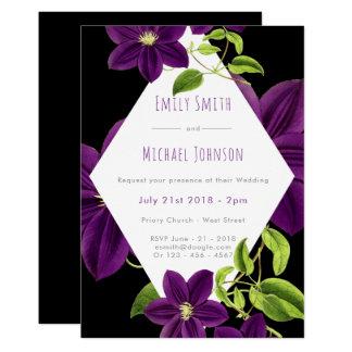 Invitations pourpres de mariage de fleur
